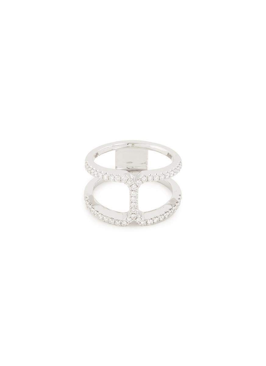 'Art Deco' diamond 18k white gold cutout ring