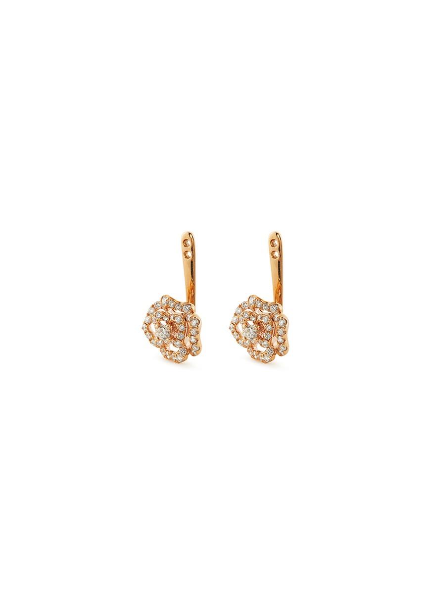 Diamond 18k rose gold floral earring jackets