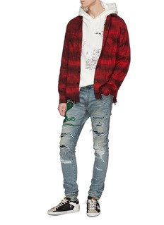 Amiri 'Cloud' tie-dye check plaid flannel shirt