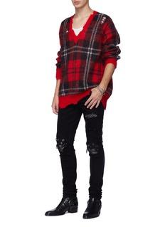 Amiri 'MX1' pleated bandana patch ripped skinny jeans