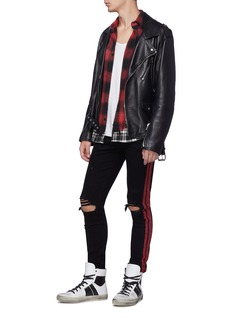 Amiri 'Track' glitter stripe outseam ripped skinny jeans