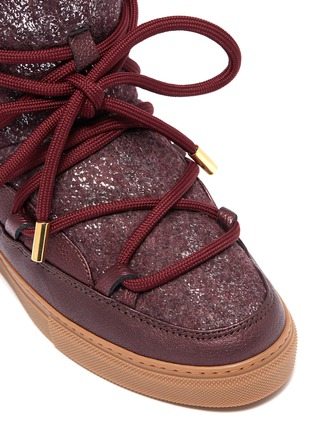 Detail View - Click To Enlarge - INUIKII - 'Burret' metallic shearling wedge sneaker boots