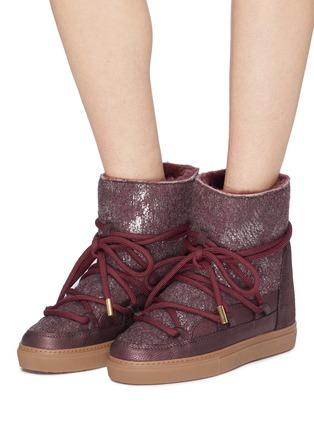Figure View - Click To Enlarge - INUIKII - 'Burret' metallic shearling wedge sneaker boots