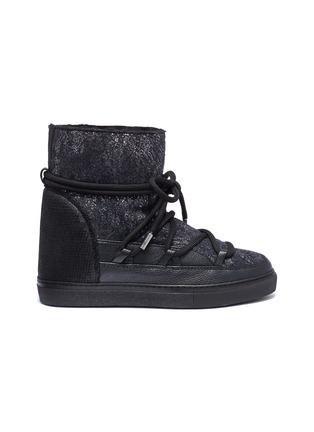 Main View - Click To Enlarge - INUIKII - 'Burret' metallic shearling wedge sneaker boots