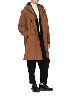 ATTACHMENT Detachable hood wool-cashmere melton coat