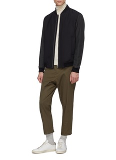 Theory 'Brenton' leather sleeve wool twill padded bomber jacket