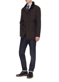 ISAIA Faux fur collar wool blend coat