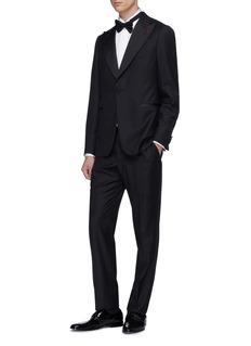 ISAIA Wing tip collar diamond jacquard tuxedo shirt
