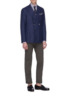 ISAIA 'Cortina' brushed wool-silk hopsack blazer