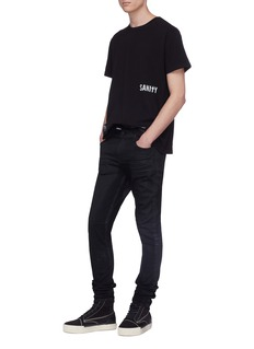 RtA Slogan cross embroidered slim fit jeans