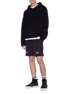 RtA Reflective logo cross print track shorts