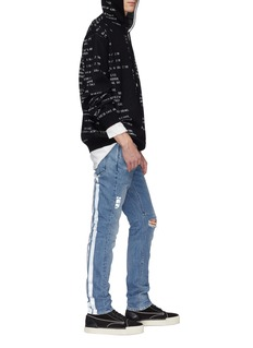 RtA '1' reflective logo cross print ripped skinny jeans