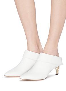 Nicholas Kirkwood 'Mira Pearl' angled heel foldover leather mules