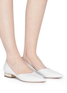Nicholas Kirkwood 'Suzi' faux pearl heel leather skimmer flats