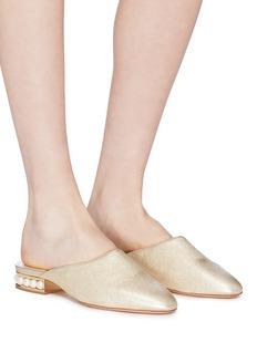 Nicholas Kirkwood 'Casati' faux pearl heel metallic leather mules