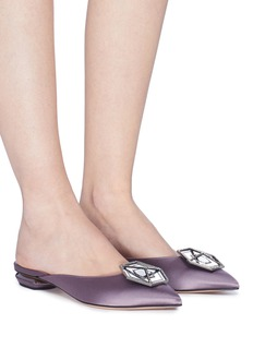 Nicholas Kirkwood 'Jewel Eden' strass hexagon plate satin mules