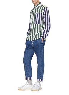 Sunnei Stripe roll cuff button fly jeans