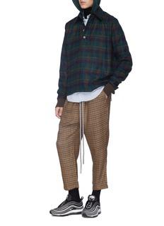 Necessity Sense 'Leon' check plaid hooded melton polo shirt