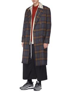 Necessity Sense Check plaid Merino lambswool melton coat
