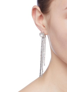 Venna Floral stud glass crystal chain fringe drop earrings