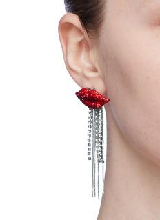 Venna Glass crystal lips chain fringe drop earrings