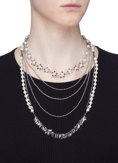 Venna Faux pearl multi chain tiered necklace