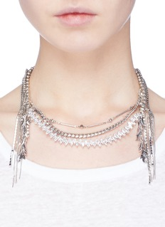 Venna Glass crystal multi chain fringe necklace