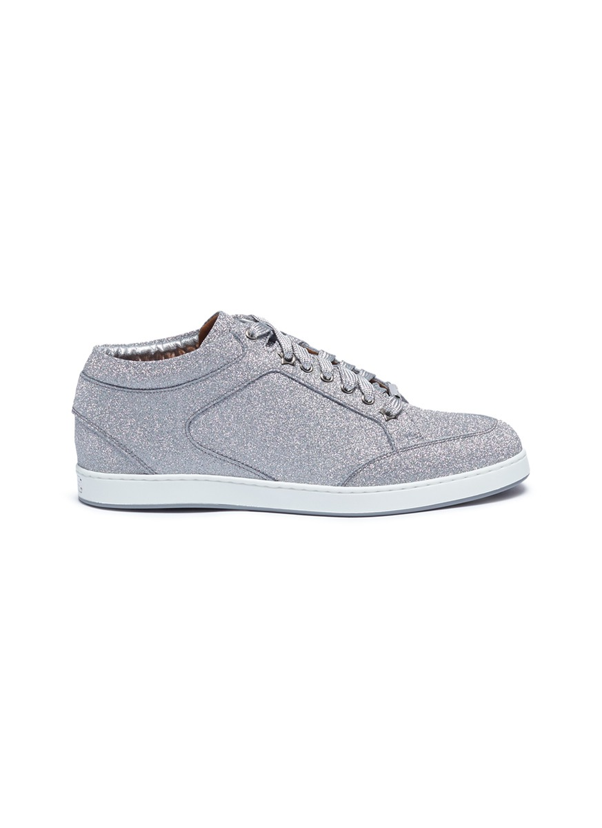 Miami glitter coated leather sneakers by Jimmy Choo