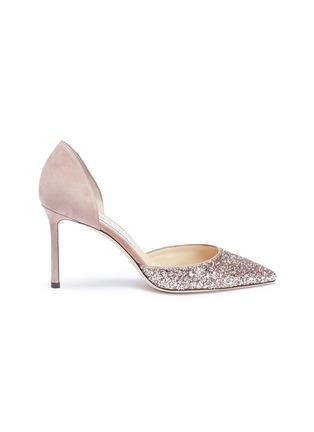 3cfa1927c1 JIMMY CHOO. 'Esther 85' coarse glitter suede d'Orsay pumps