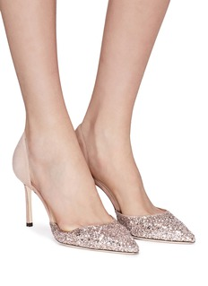 Jimmy Choo 'Esther 85' coarse glitter suede d'Orsay pumps