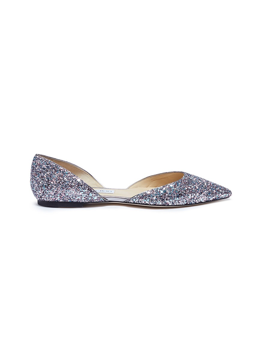 Esther coarse glitter dOrsay flats by Jimmy Choo