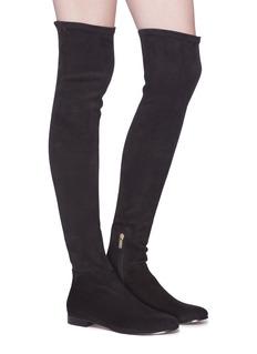 Jimmy Choo 'Myren Flat' stretch suede thigh high boots