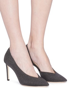 Jimmy Choo 'Sophia 85' glitter coated leather d'Orsay pumps