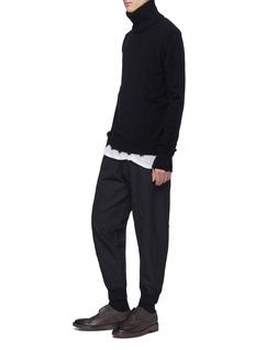 Ziggy Chen Detachable collar raw edge cashmere sweater