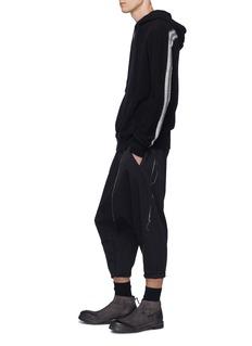 Ziggy Chen Rib stripe cashmere knit hoodie
