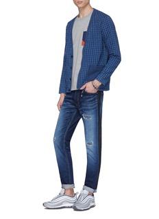 FDMTL Stripe outseam ripped skinny jeans