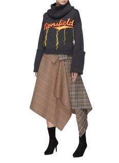 Monse 'Monsfield' fringe slogan intarsia wool turtleneck sweater