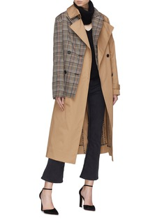 Monse Tartan plaid panel trench coat