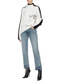 Monse 'International Monse' slogan print contrast sleeve turtleneck sweater