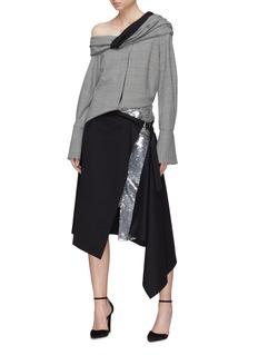 Monse Asymmetric layered sequin wrap skirt