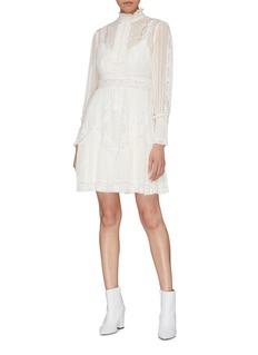 Zimmermann Tucked' lace trim bib stripe georgette dress