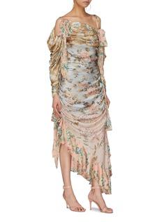 Zimmermann 'Elixir' ruched ruffle patchwork floral print silk dress