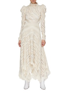 Zimmermann Puff sleeve mesh lace stripe satin top
