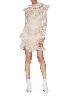 Zimmermann 'Battenburg' Ruffle tiered guipure lace trim dress