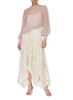 Zimmermann Blouson sleeve mohair blend cropped open knit sweater