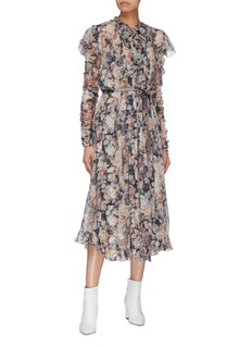Zimmermann 'Tempest Frolic' belted floral print silk georgette dress