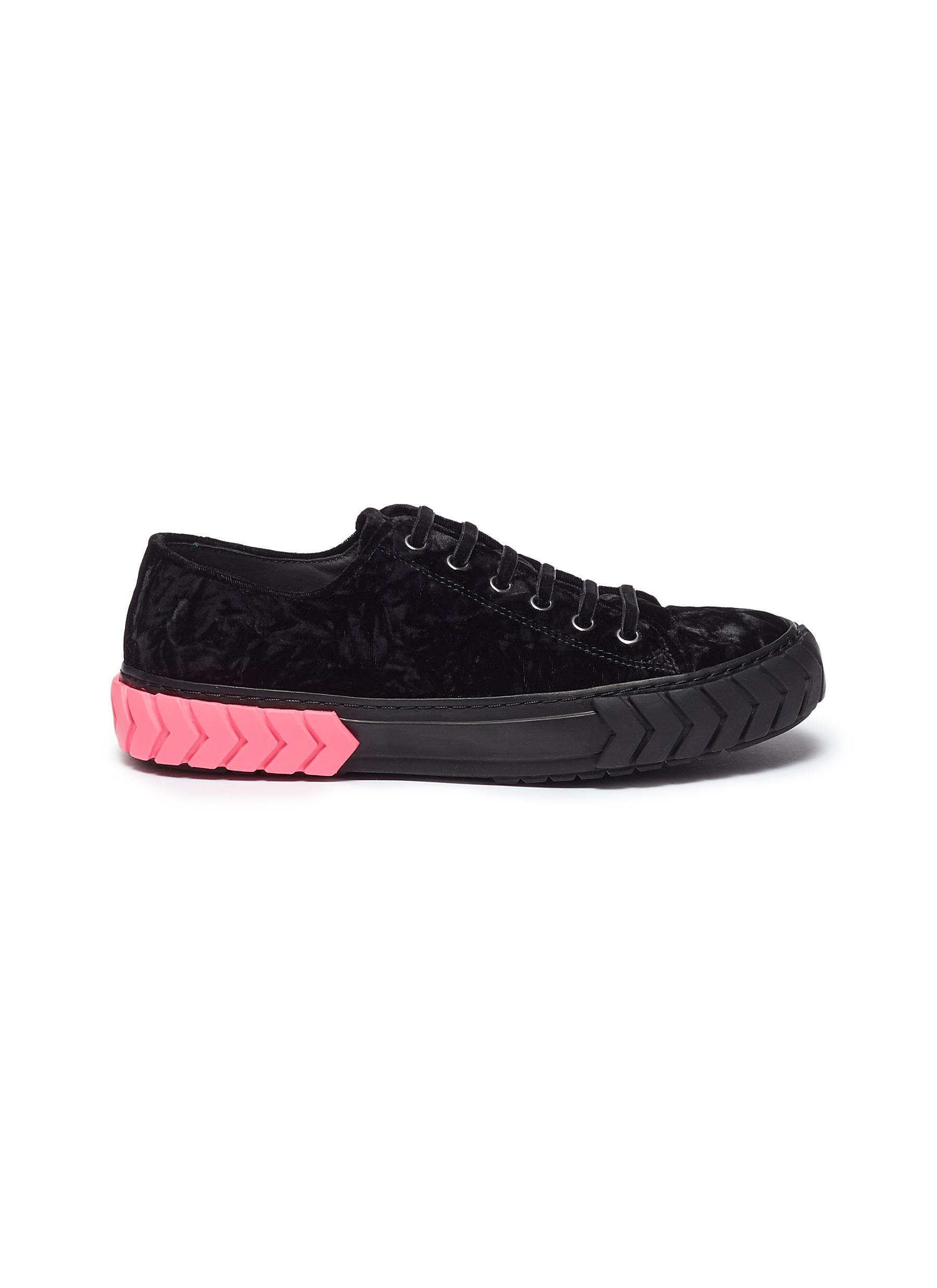 Colourblock tyre midsole velvet sneakers by both