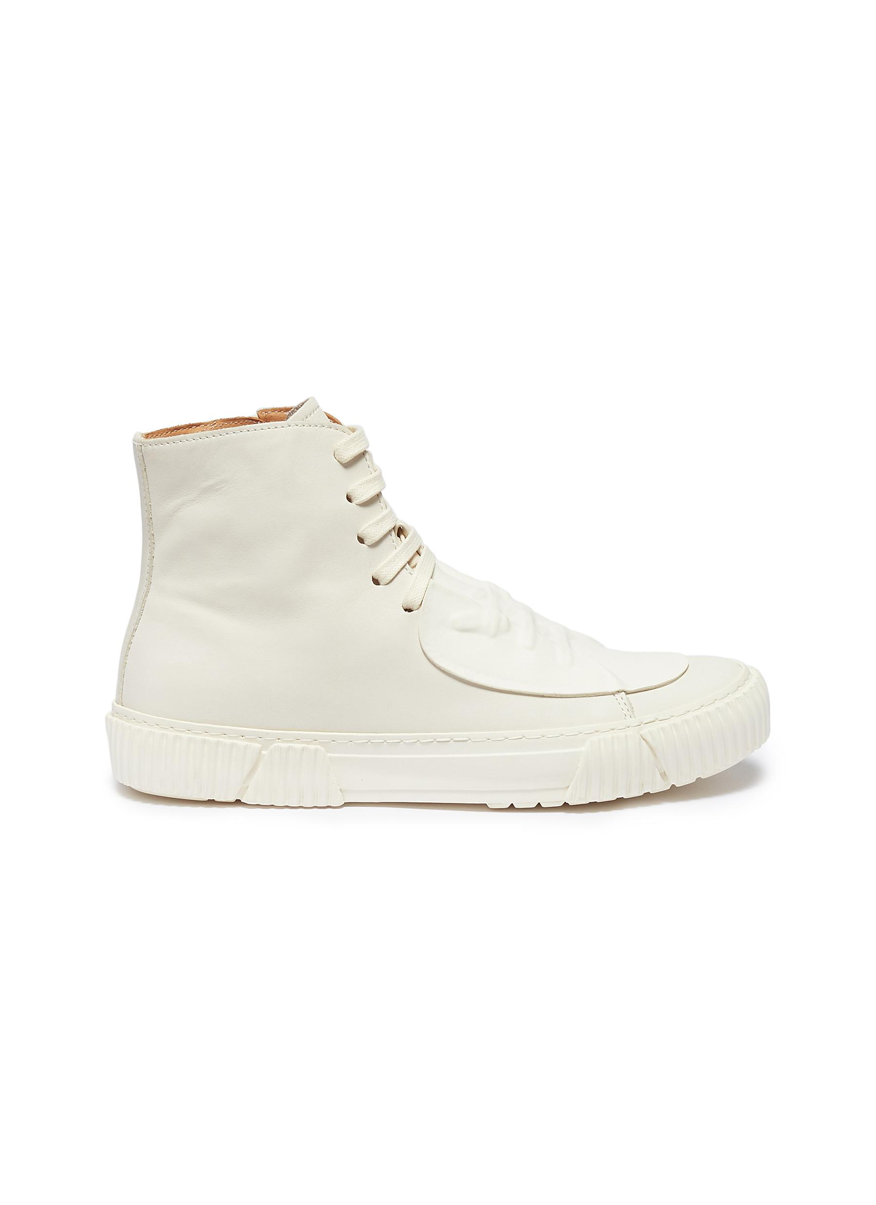 Rubber patch leather high top sneakers by both