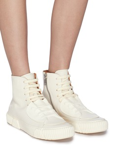 both Rubber patch leather high top sneakers