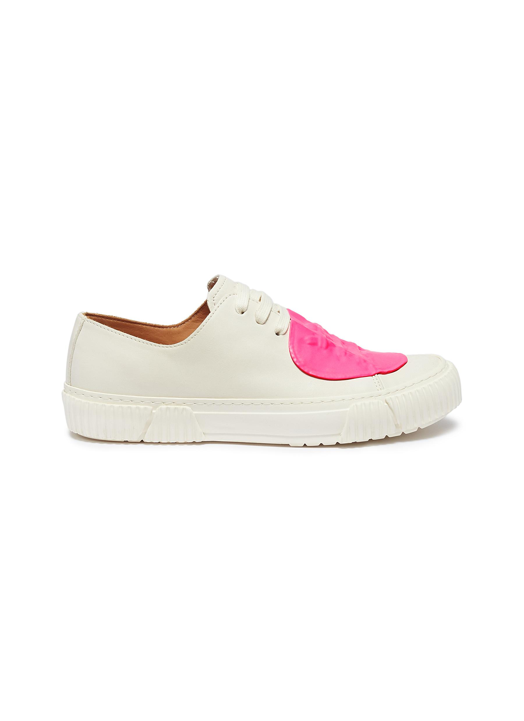 Rubber patch leather low top sneakers by both